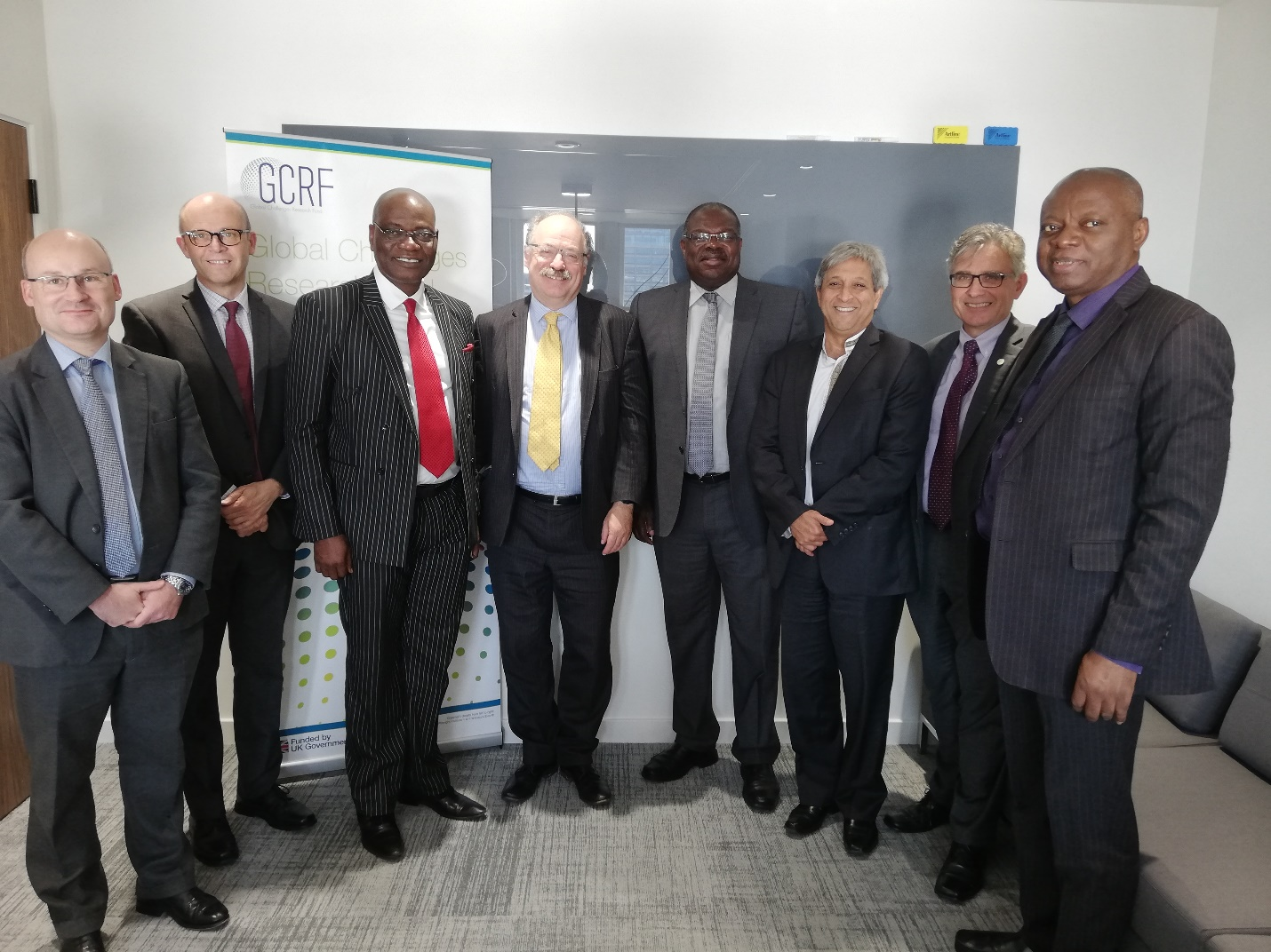 Picture of ARUA delegation with Sir Mark Walport, (Centre) CEO of UKRI