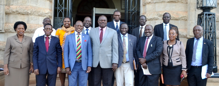 The Secretary-General in a Group Photograph with the Senior Management of Makerere University